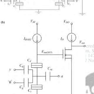 Circuit diagram of an SET-MOS hybrid circuit with a TG-SET