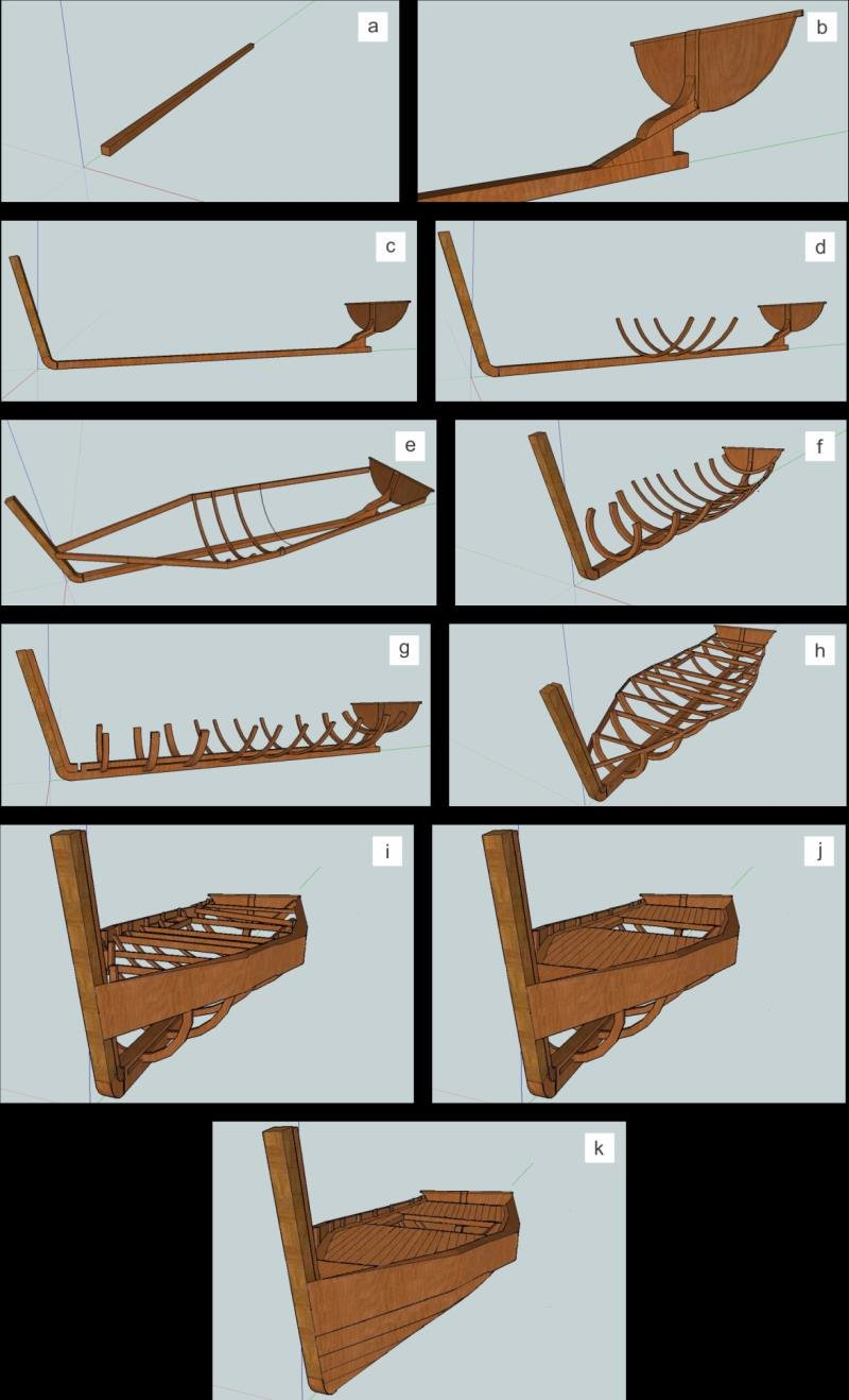 medium resolution of schematic representation of traditional plank on frame boatbuilding stages a keel b transom c bow d reference longitudinal frames