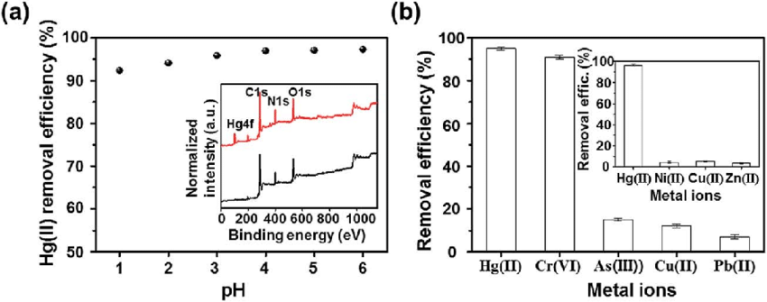 (a) The effect of solution pH on Hg(II) removal efficiency