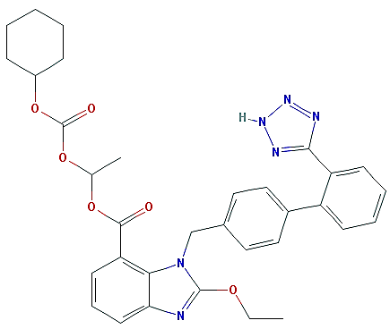 The chemical structure of candesartan cilexetil. Molecular