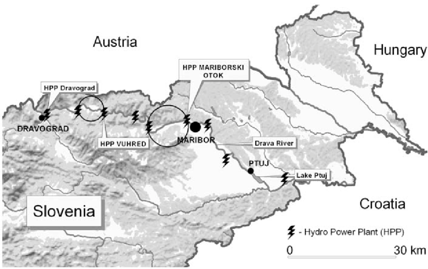 Map of the Drava River with the position of hydro power