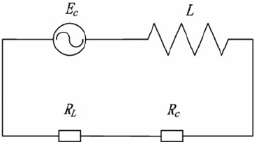 Equivalent circuit diagram of the closed coil with the
