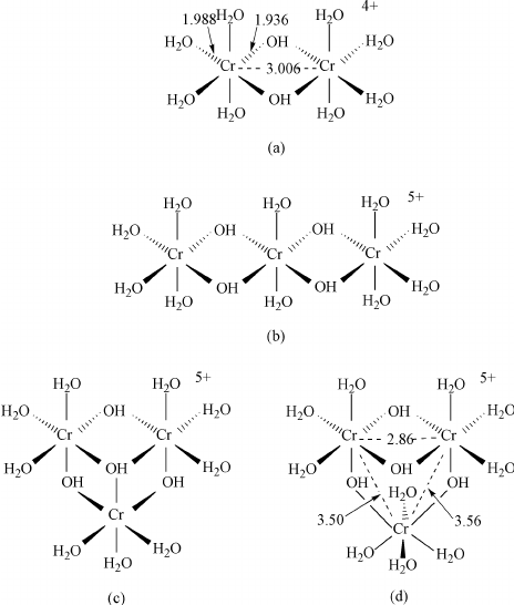 Structures of chromium( ) dimer and trimer: (a) dimer