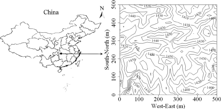 Location and contour map of the 25 ha Badagongshan (BDGS