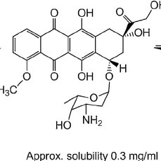Ionization of doxorubicin (543.5 Da) in aqueous solution