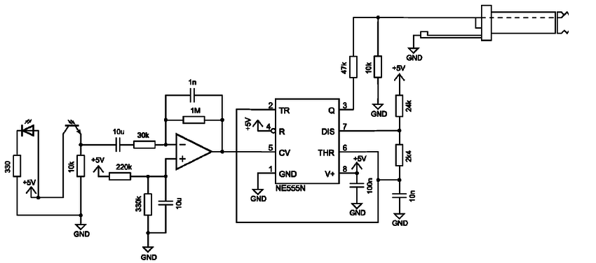 Schematic of the NE 555 frequency modulation measurement