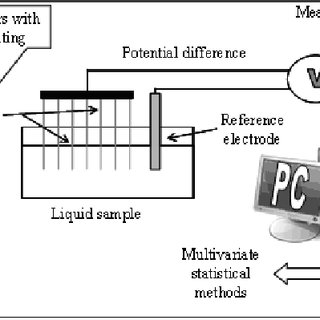Schematic diagram of a potentiometric type electronic