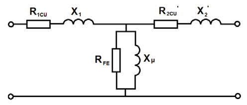 The equivalent circuit of a single-phase transformer
