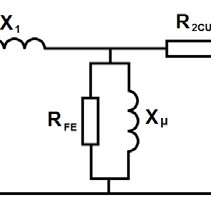 The open-circuit test equivalent circuit of a transformer