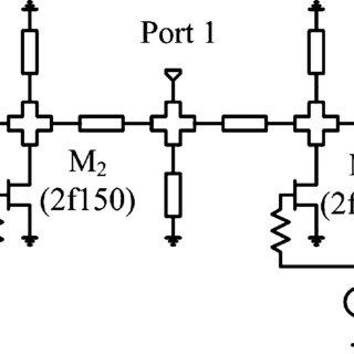Circuit schematic of the 1-GHz hybrid SPDT switch