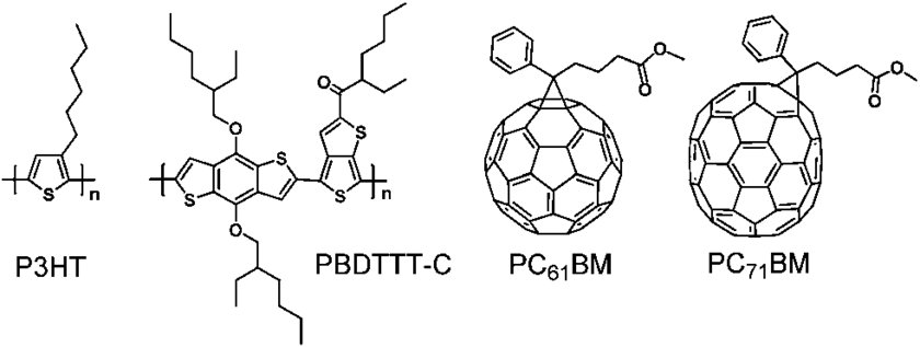 Chemical structures for P3HT, PBDTTT-C, PC 61 BM, and PC