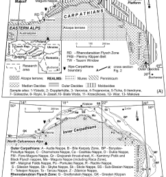 schematic structural maps of a part of the carpatho alpine domain a location of moldavides penninicum outer dacides cross section and sample sites  [ 850 x 1036 Pixel ]