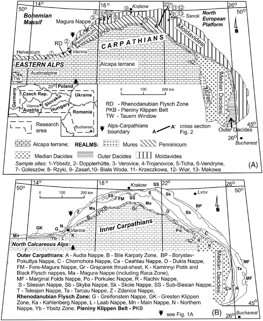 medium resolution of schematic structural maps of a part of the carpatho alpine domain a location of moldavides penninicum outer dacides cross section and sample sites