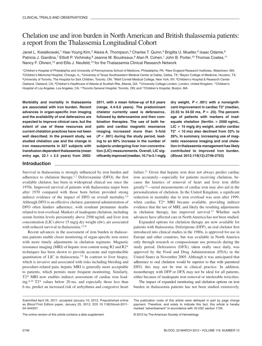 PDF Clinical Burdens Of β Thalassemia Major In Affected Children
