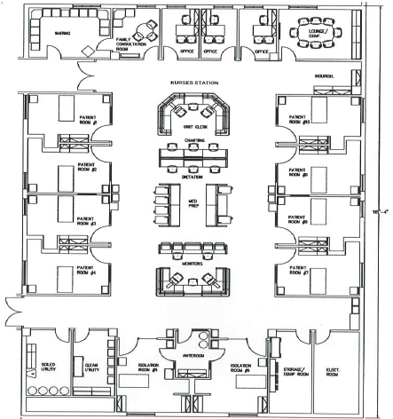 Proposed design of a single cluster of ICU (nurses station