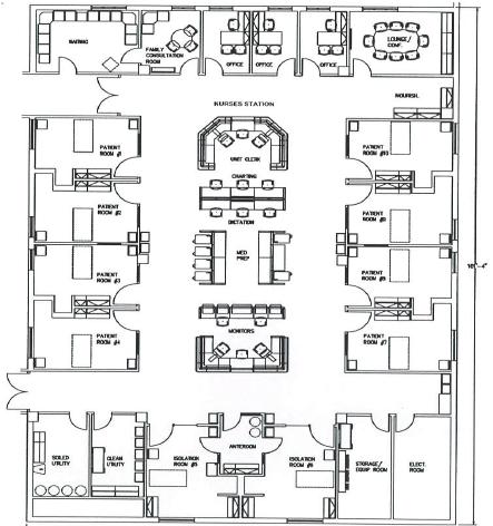 Proposed design of a single cluster of ICU (nurses station