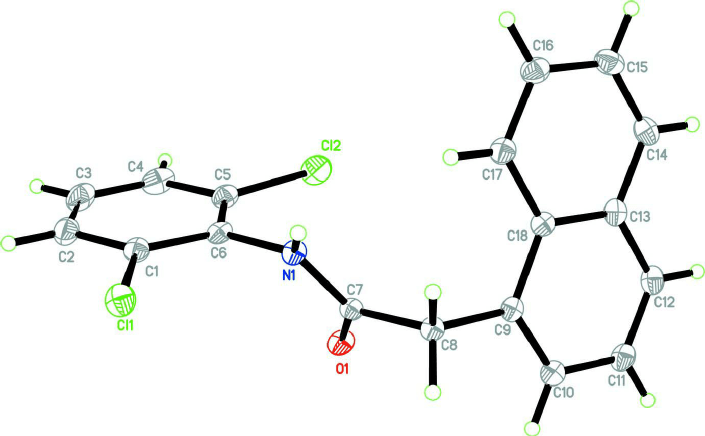 The molecular structure of the title compound showing 50%