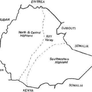Map of Ethiopia showing the highland regions and the Rift