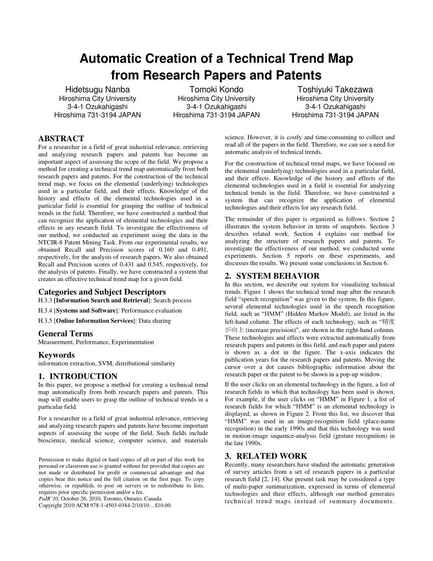 PDF Technical Trend Analysis By Analyzing Research Papers' Titles