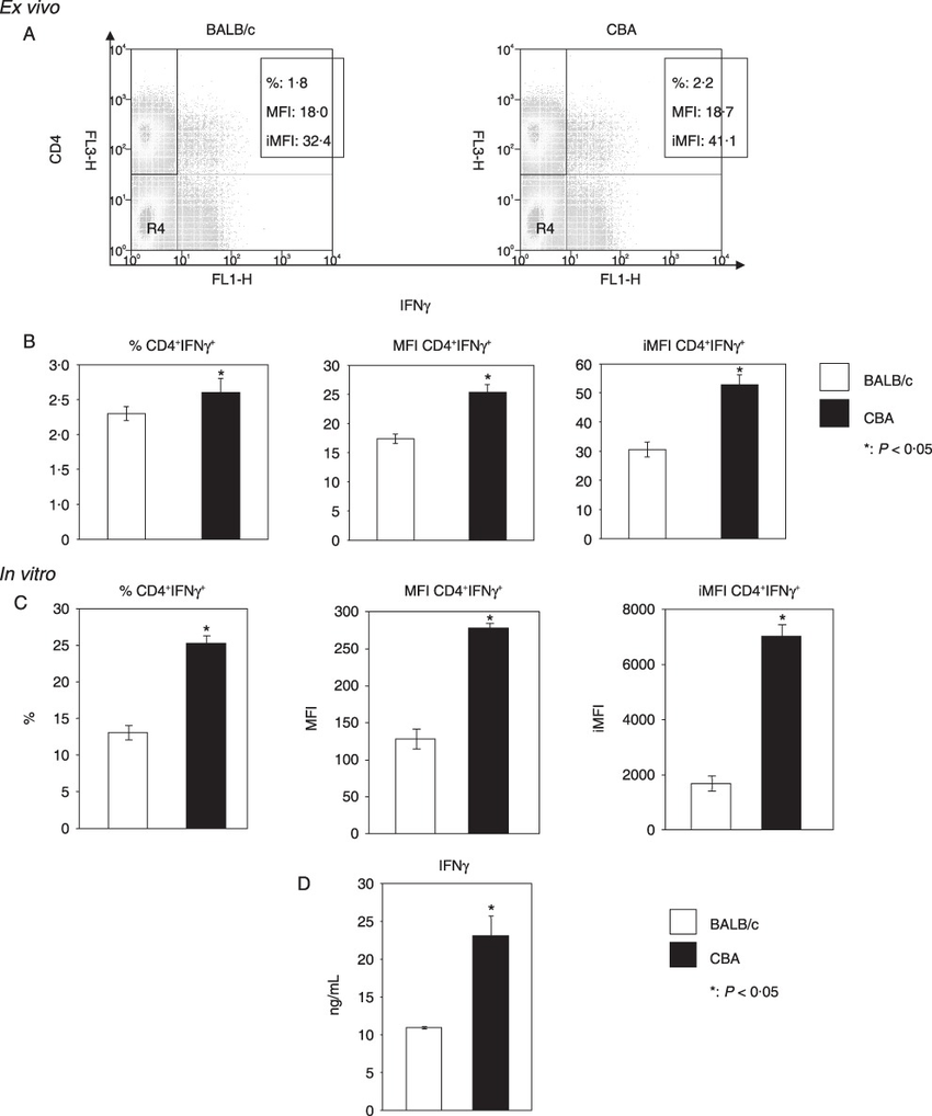 Ex vivo and in vitro expression of IFN-γ by CD4+ T cells