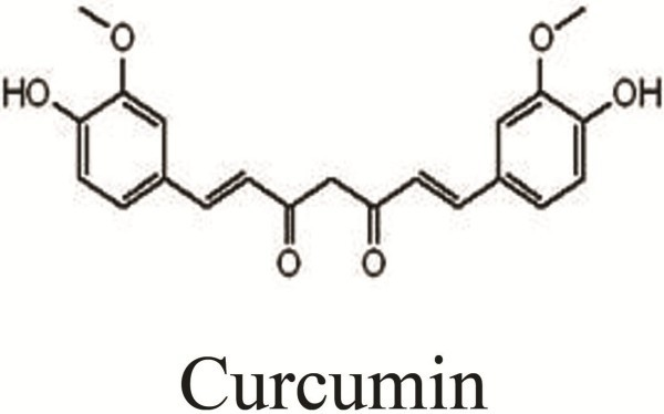 Chemical structure of curcumin. The molecular formula of