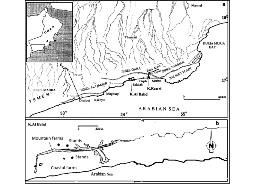Map of Oman (inset) showing the study area of Salalah
