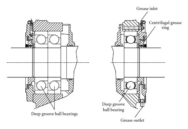 Fan motor bearing configuration for the vertical two-stage