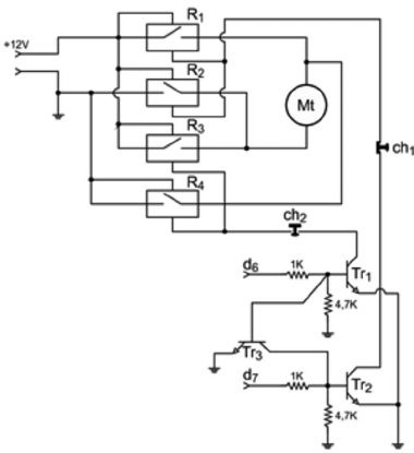 Diagram of the motor control interface. Mt = DC motor, R 1
