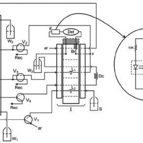 Diagram of the flow system manifold. V 1 and V 4 = three