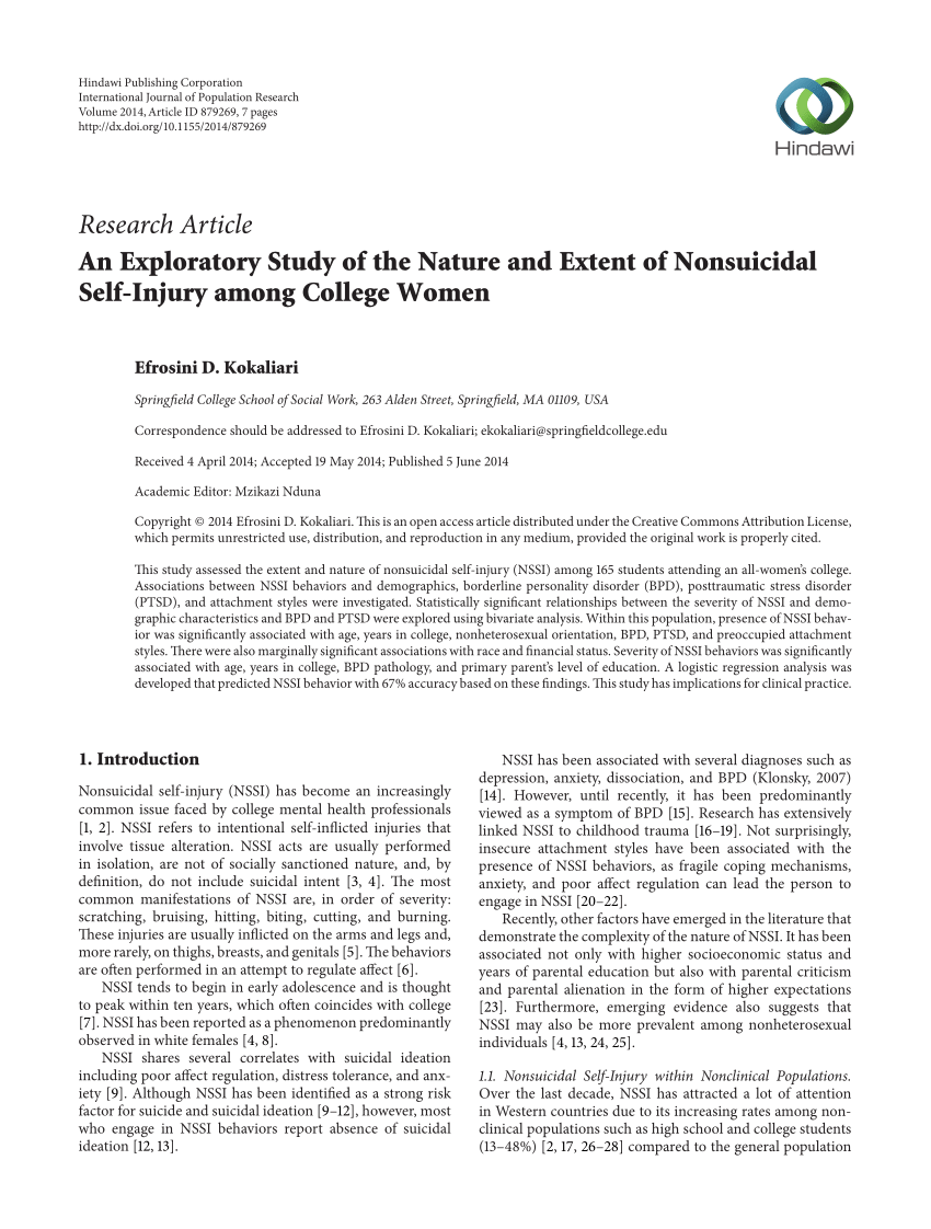 PDF Nonsuicidal Self Injury In An Adolescent Population In Singapore