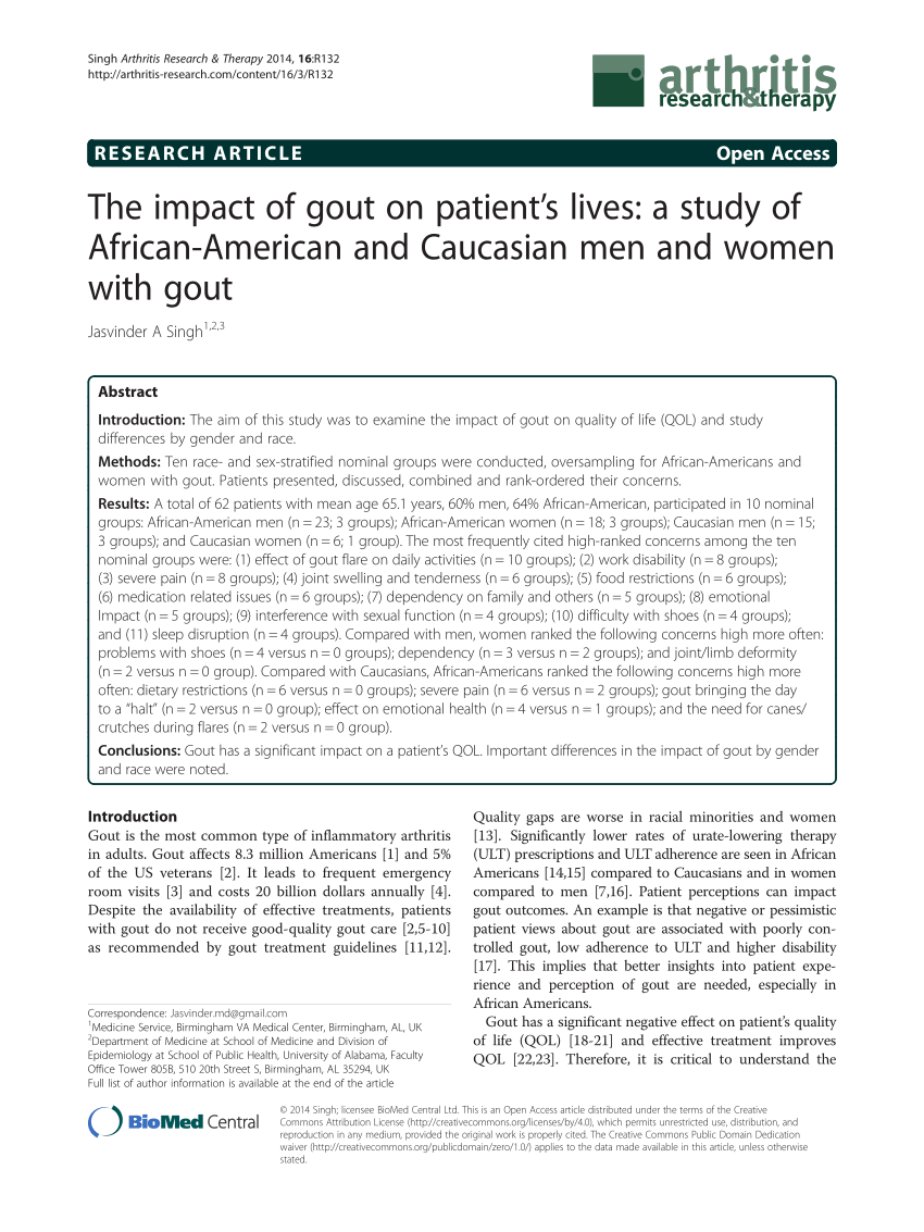 Patients Knowledge And Beliefs Concerning Gout And Its Treatment A