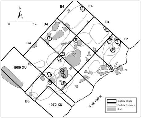 A plan view map showing the location of rocks on the