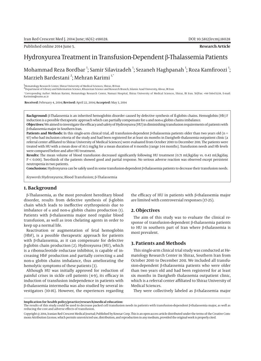 PDF Hydroxyurea In The Management Of Thalassemia Intermedia