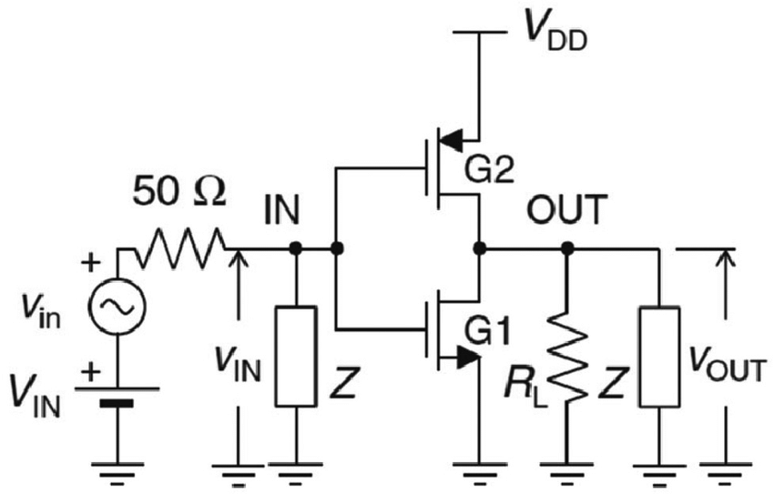 A circuit diagram of the graphene transistor-based