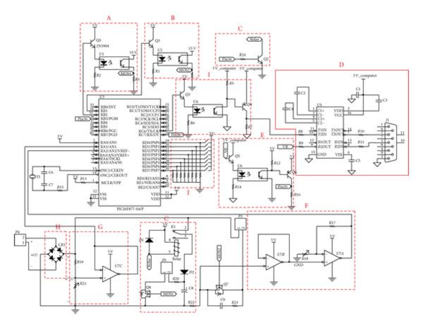 It shows the schematic diagram of a microcontroller-based