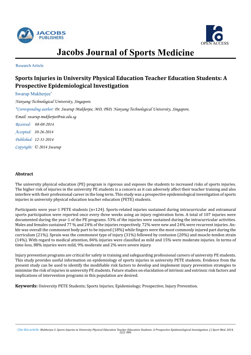 Aging Physical Activity And Sports Injuries An Overview Of Common