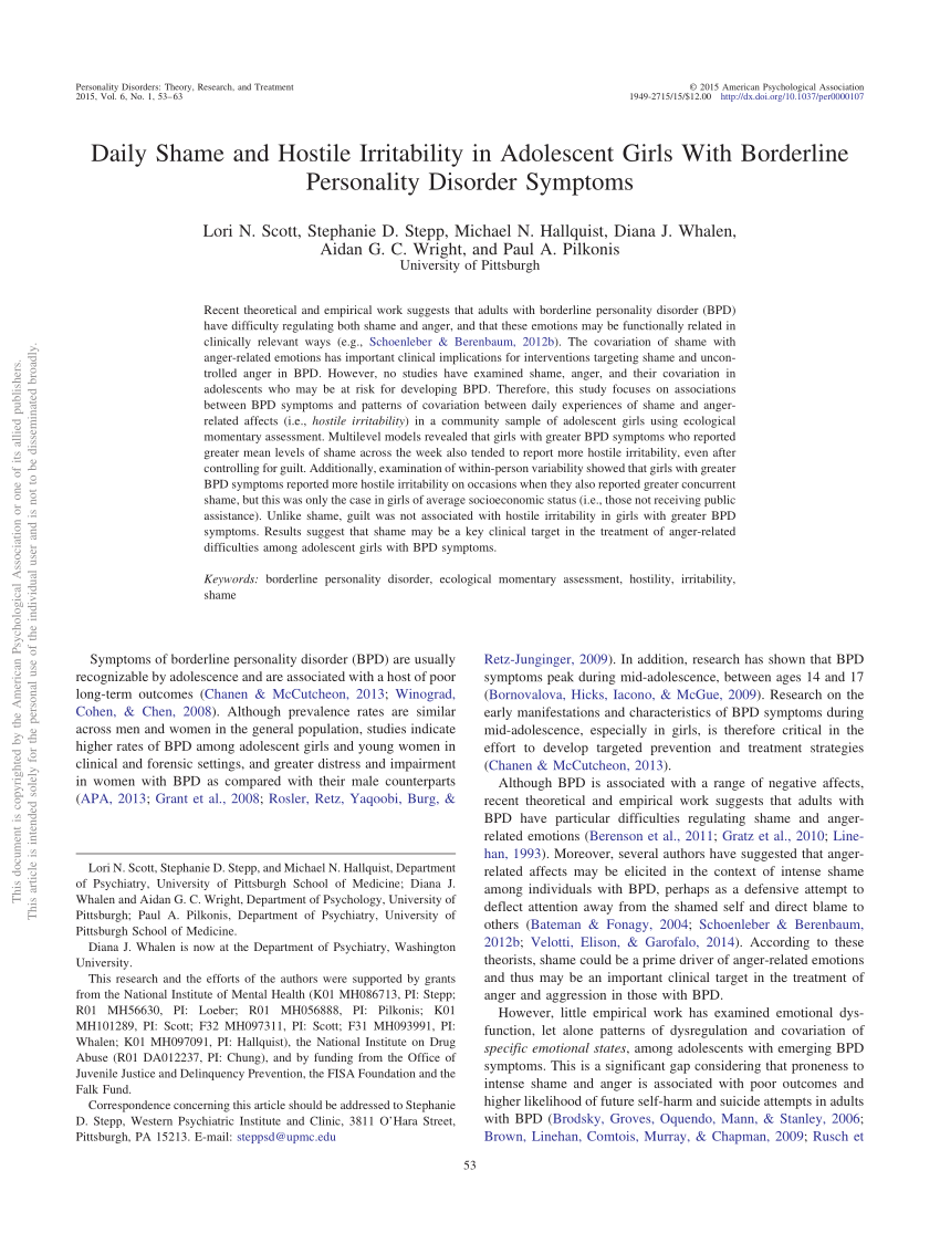 Assessment Of Dysfunctional Beliefs In Borderline Personality