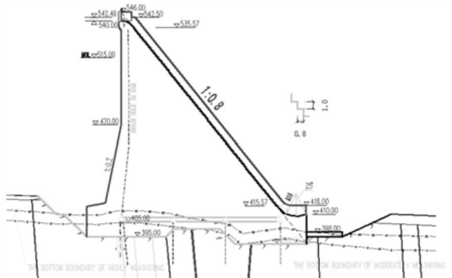 Vertical section drawing of Spillway of Murum Hydropower