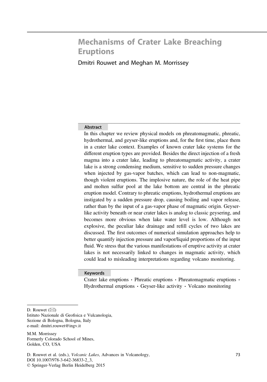 PDF Volcanic Lakes