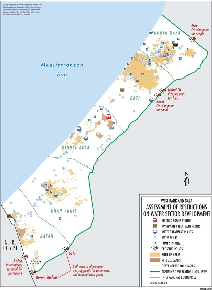 medium resolution of water wells distribution in gaza ocha 12