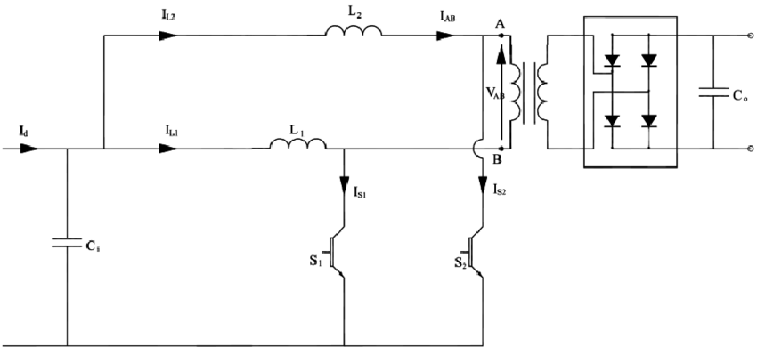 Circuit diagram of the dual input inductor push-pull