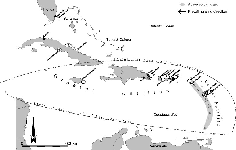 Map of Caribbean with sites in Tables 1 and 2 and