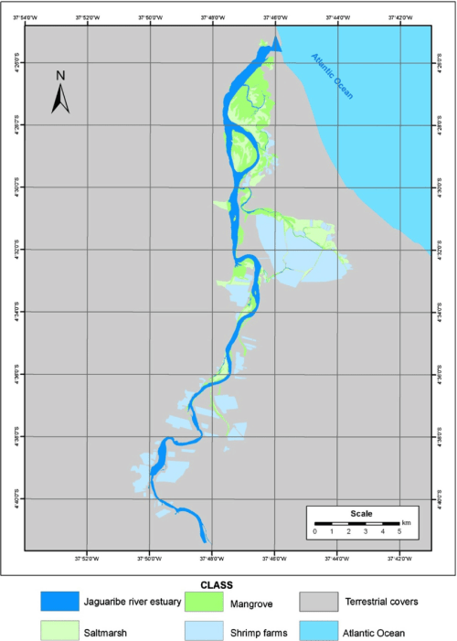 small resolution of thematic map of coastal wetland distribution in jaguaribe river download scientific diagram