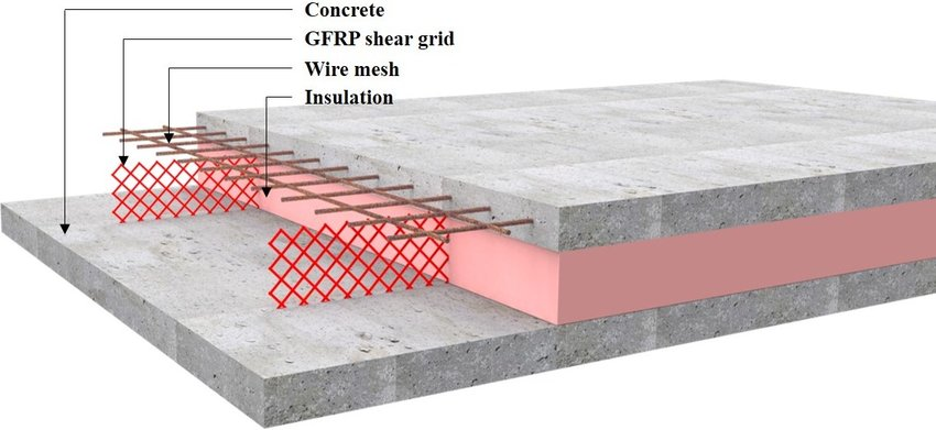 Insulated concrete sandwich wall panel reinforced with