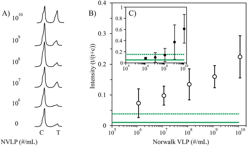 Evaluation of the Norwalk VLP (NVLP) phage LFA. A