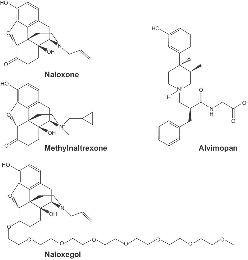 Chemical structures of naloxone, methylnaltrexone