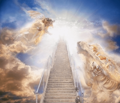 angels guard the stairs