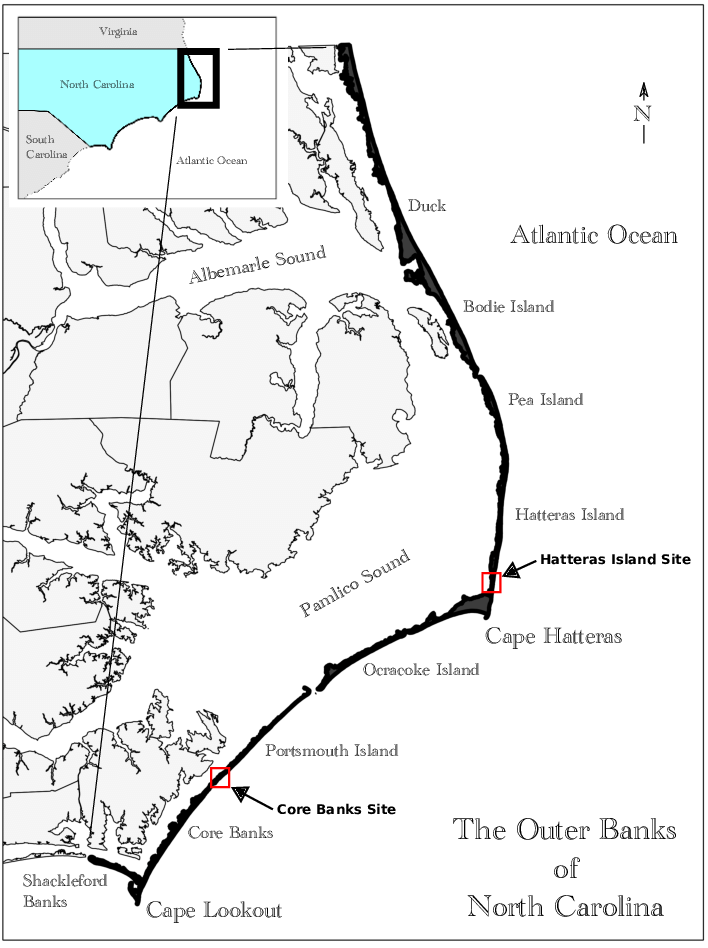 Location of the Core Banks and Hatteras Island Study sites