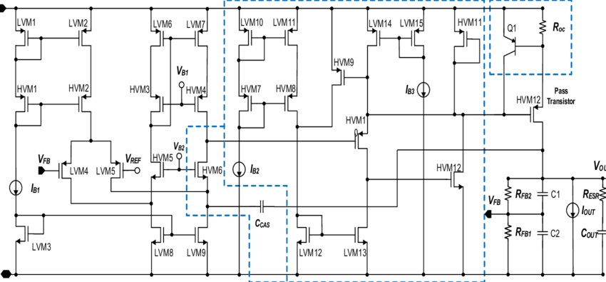 Schematic diagram of the implemented high-voltage LDO