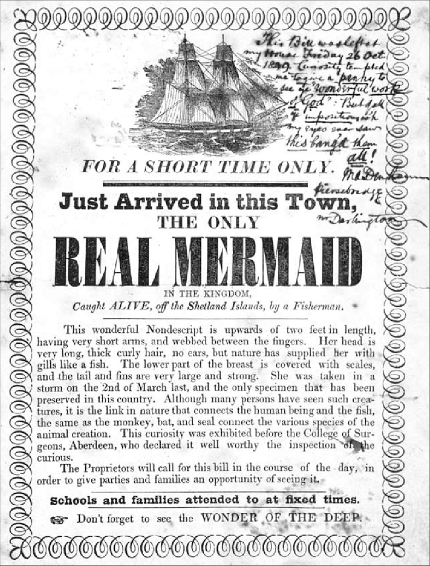 hight resolution of notice of the exhibition of a real mermaid letterpress with a manuscript